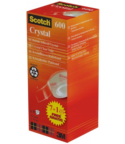 Scotch ruban adhésif Crystal Tape, ft 19 mm x 33 m, 1 x value pack avec 8 rouleaux